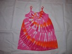 Girls pink tie dye sundress, pink tie dye dress