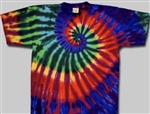 kids tie dye extreme rainbow t-shirt.  The tie dyes are not fade away, pre-shunk t-shirts.
