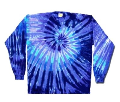 Twilight Blue Swirl Long Sleeve Tie Dye T Shirt Blue And