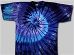 Men's Twilight blue swirl tie dye t-shirt, bright colorful tie dye t-shirt
