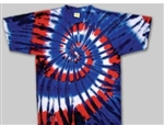 Red, White & Blue swirl tie dye t-shirt