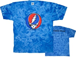 Steal Your Face Blue Crinkle tie dye shirt