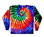 Long Sleeve Tie Dye T-Shirt, Extreme Rainbow Long Sleeved tie dye t-shirt