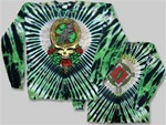 Grateful Dead Shamrock Green Steal your Face long sleeve tie dye, Classic Grateful Dead Steal Your Face long sleeve shirt