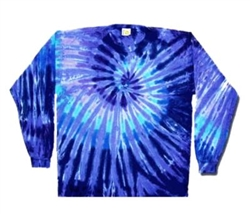 Twilight Blue long sleeve tie dye t-shirt, swirl long sleeve tie dye t-shirt, Blue and Purple swirl tie dye long sleeve shirt