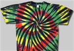 Rasta colors with black tie dye t-shirt, sundog tie dye, sun dog tie dyes