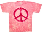 Pink Peace Sign tie dye t-shirt